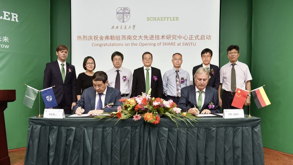 During the opening ceremony for the Schaeffler Hub for Advanced Research (SHARE) at the Southwest Jiaotong University Zhang Wengui, vice president of the university (on the left), and  Professor Doctor of Science (Technology)  Peter Gutzmer, vice chairman of the  executive board and the member of the executive board technology from Schaeffler, signed a memorandum of cooperation in the Chinese railway sector.