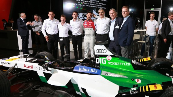 Representatives of Schaeffler, Audi Sport and ABT Sportsline, plus Lucas di Grassi and Daniel Abt, with the new electric race car