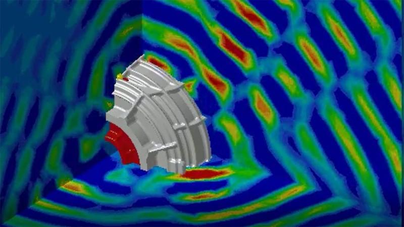 Ergebnis einer Simulation: Schallabstrahlung eines E-Motors