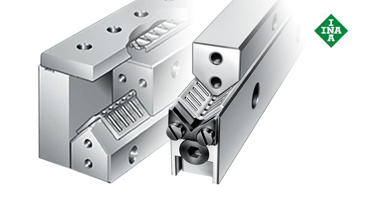 Schaeffler-lineairgeleidingen: ML/V-geleidingsrails met regelspie en hoekige/vlakke kooi