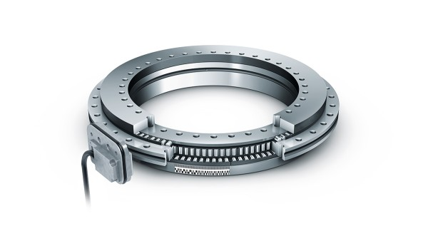 YRTCMA X-life axial-radial cylindrical roller bearing with an absolute measuring system integrated into the bearing.