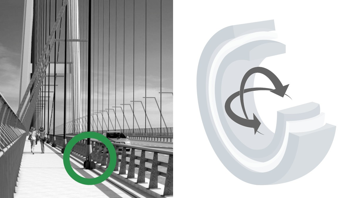 In contrast to the upper suspension points of the supporting cable, the lower mountings also have to be able to absorb the multi-directional pivotal movements emanating from the road. That's why instead of the plain bushes used at the top the more agile radial spherical plain bearings from Schaeffler are used.