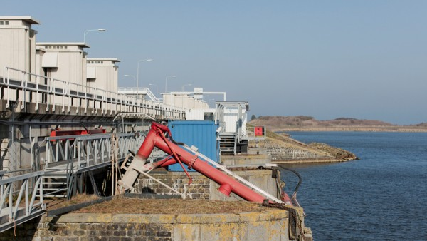 The sluices are opened twice a day to let the water flow out of the IJsselmeer.