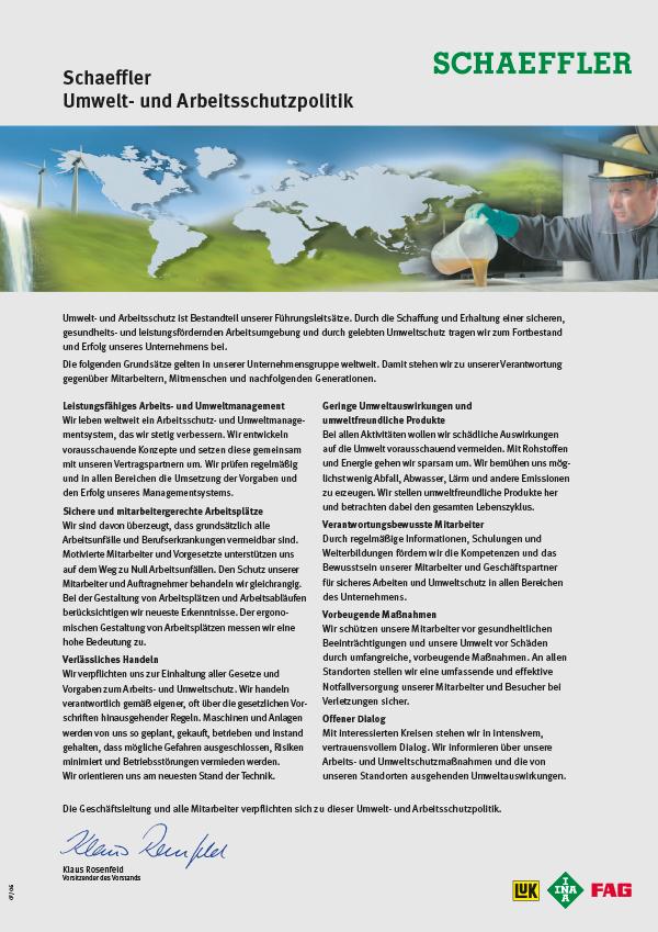 Umwelt- und Arbeitsschutzpolitik der Schaeffler Gruppe