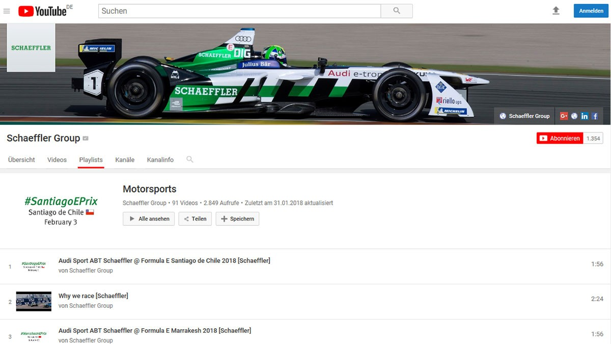 All videos about Schaeffler in motorsport are available on Schaeffler's YouTube channel.