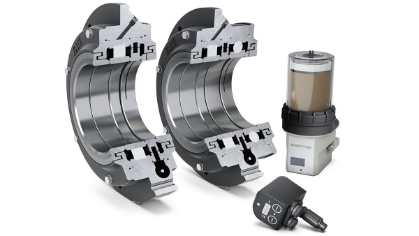 Die Flanschlager-Gehäuseeinheiten FERS (links) und FERB (rechts) mit Service-Paket für Elektromotoren: Condition Monitoring System SmartCheck und Schmierstoffgeber Concept2.